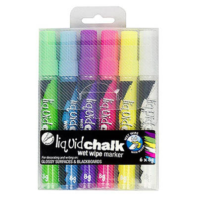 Image for TEXTA LIQUID CHALK MARKER WET WIPE BULLET 4.5MM ASSORTED WALLET 6 from BusinessWorld Computer & Stationery Warehouse