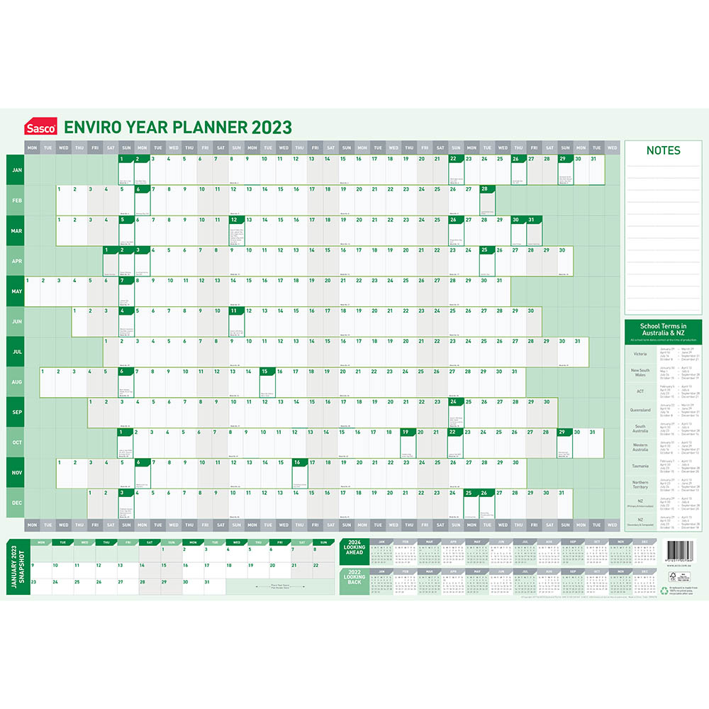 Image for SASCO 2022 ENVIRO YEAR PLANNER 870 X 610MM from ONET B2C Store