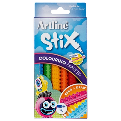 Image for ARTLINE STIX COLOURING MARKER ASSORTED PACK 6 from BusinessWorld Computer & Stationery Warehouse