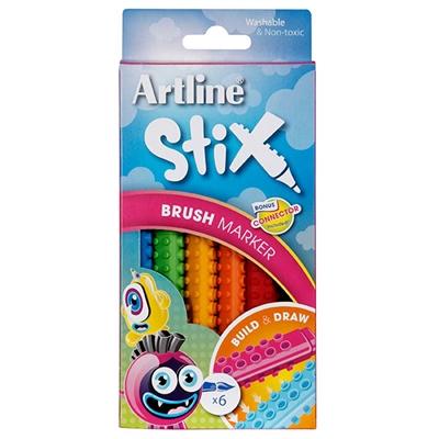 Image for ARTLINE STIX BRUSH MARKER ASSORTED PACK 6 from BusinessWorld Computer & Stationery Warehouse