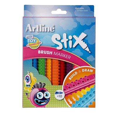 Image for ARTLINE STIX BRUSH MARKER ASSORTED PACK 10 from BusinessWorld Computer & Stationery Warehouse