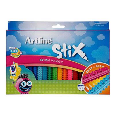 Image for ARTLINE STIX BRUSH MARKER ASSORTED PACK 20 from BusinessWorld Computer & Stationery Warehouse