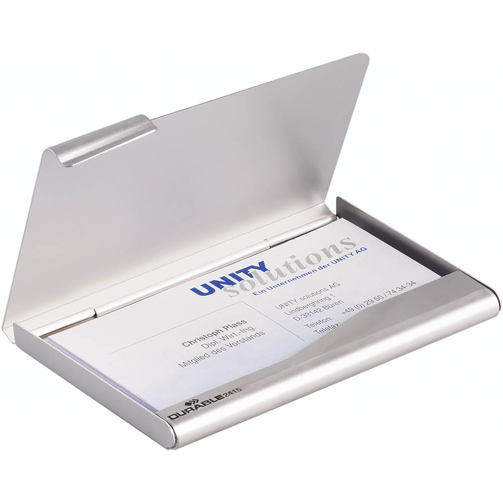 Image for DURABLE BUSINESS CARD BOX ALUMINIUM 20 CAPACITY 90 X 55MM from BusinessWorld Computer & Stationery Warehouse