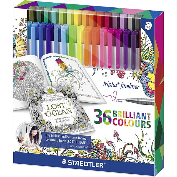 Image for STAEDTLER 323 JOHANNA BASFORD TRIPLUS FINELINE PEN ASSORTED BOX 36 from York Stationers