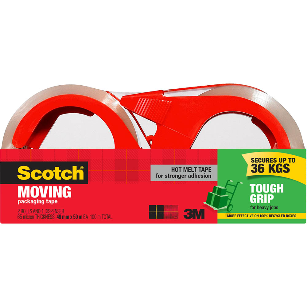 Image for SCOTCH 3500-2-1RD-AU TOUGH GRIP MOVING TAPE WITH DISPENSER 48MM X 50M PACK 2 from ONET B2C Store