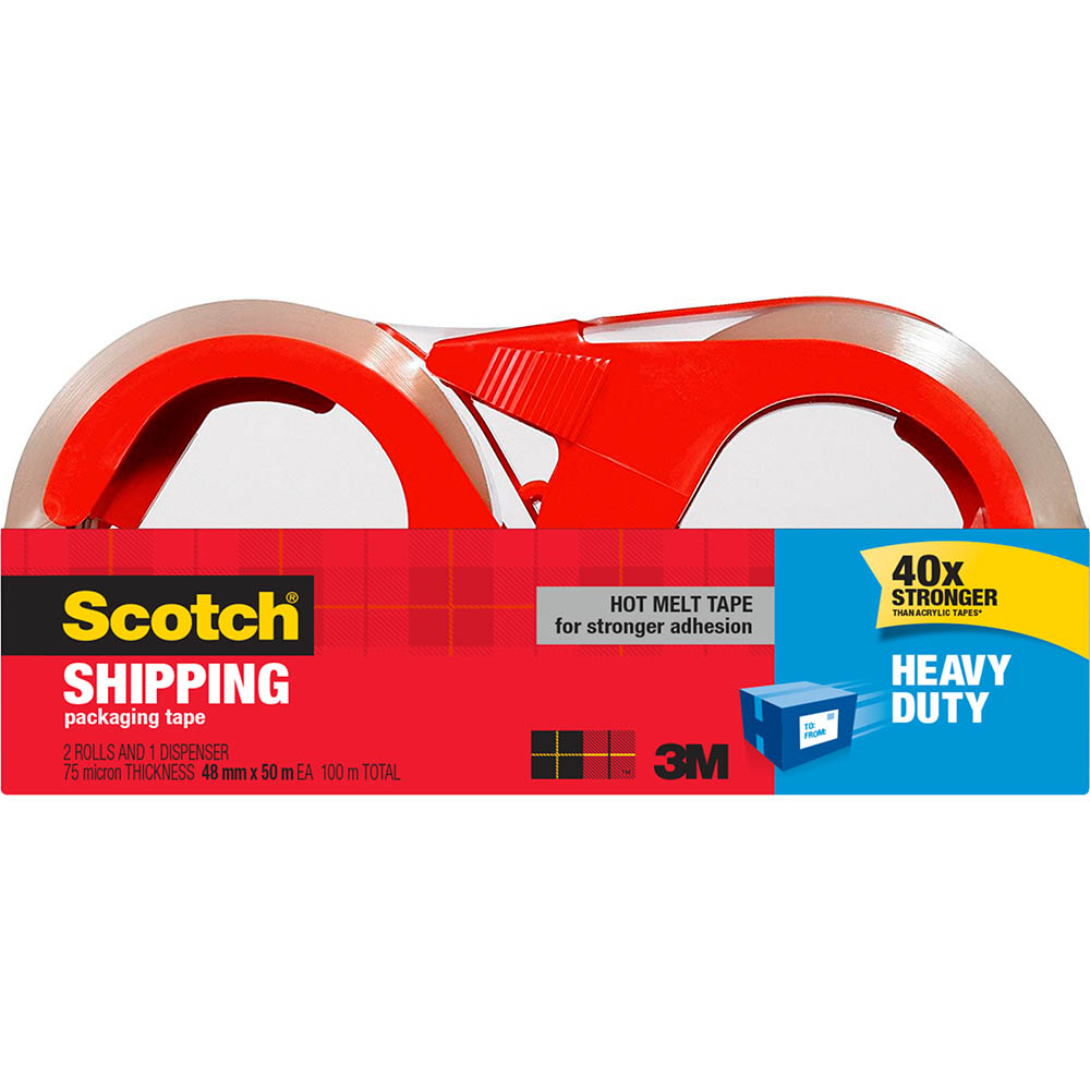 Image for SCOTCH 3850-2-1RD-AU HEAVY DUTY SHIPPING PACKAGING TAPE WITH DISPENSER 48MM X 50M PACK 2 from ONET B2C Store
