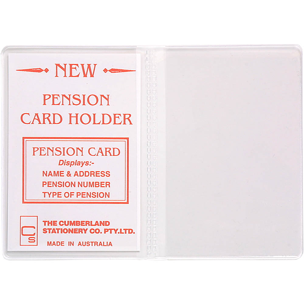 Image for CUMBERLAND CARD HOLDER 2 CLEAR POCKETS 100 X 70MM CLEAR PACK 10 from Office Heaven