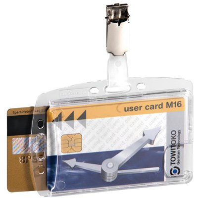 Image for DURABLE ACRYLIC SECURITY PASS HOLDER DUO WITH ROTATING CLIP BOX 25 from Office Heaven
