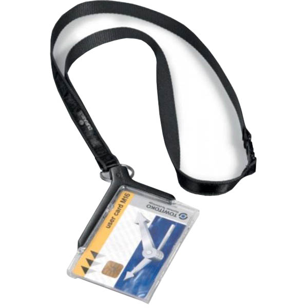 Image for DURABLE CARD HOLDER DELUXE ACRYLIC WITH NECKLACE from Office Heaven