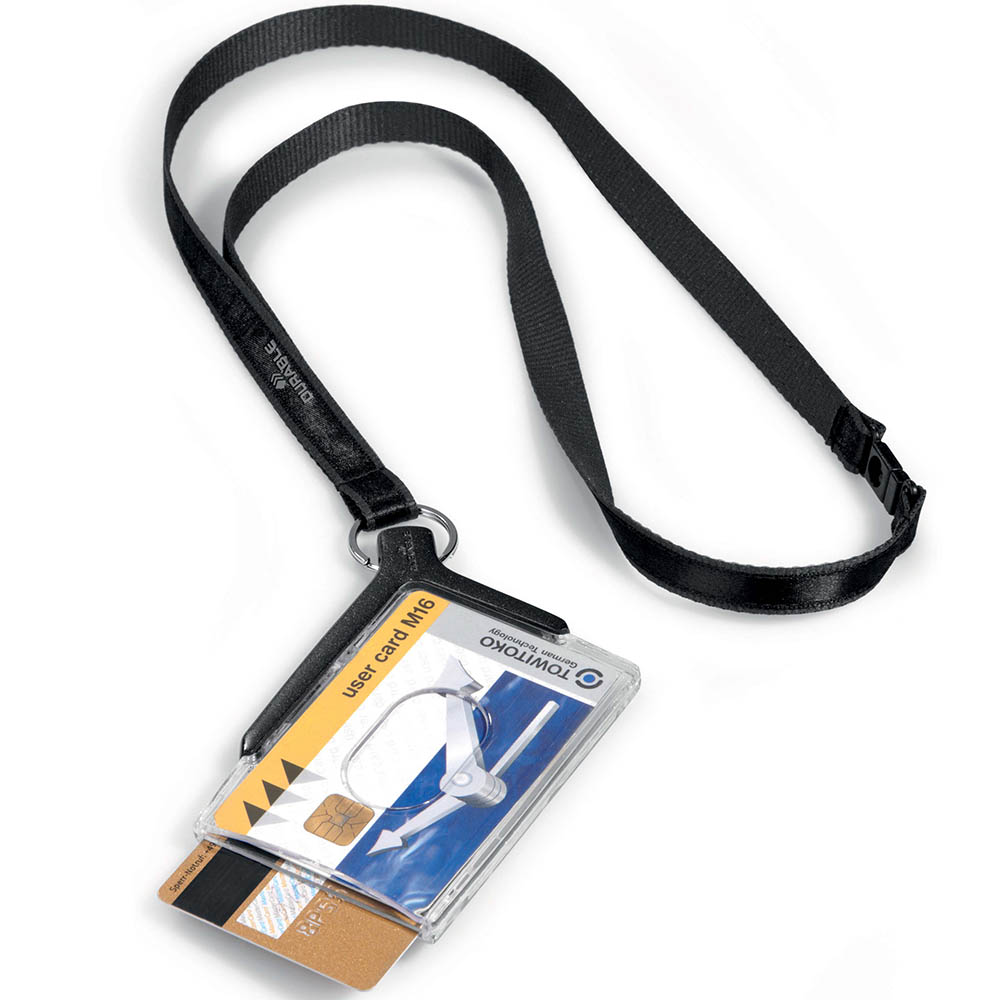 Image for DURABLE CARD HOLDER DELUXE ACRYLIC DUO WITH NECKLACE from Office Heaven