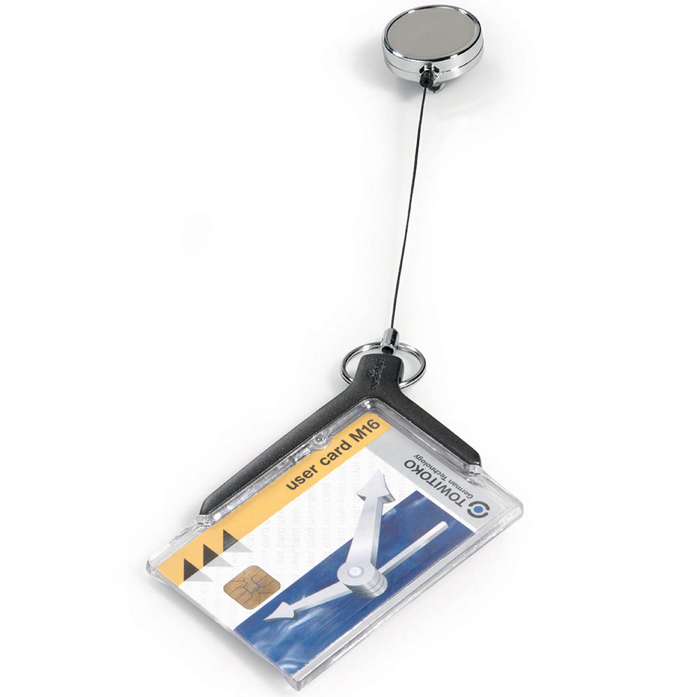 Image for DURABLE CARD HOLDER DELUXE ACRYLIC PRO WITH REEL from Office Heaven