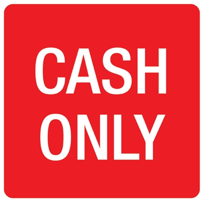 Image for APLI SELF ADHESIVE SIGN CASH ONLY 114MM RED/WHITE from ONET B2C Store