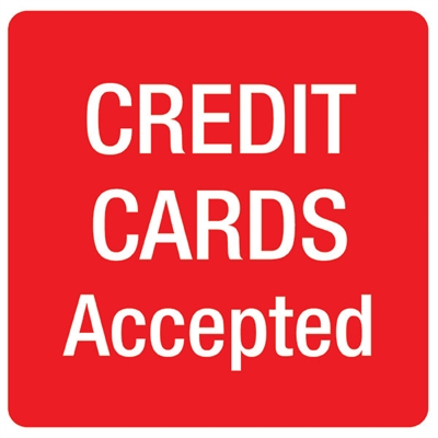 Image for APLI SELF ADHESIVE SIGN CREDIT CARDS ACCEPTED 114MM RED/WHITE from ONET B2C Store