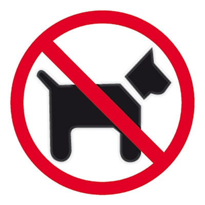 Image for APLI SELF ADHESIVE SIGN DOGS FORBIDDEN 114MM BLACK/RED from ONET B2C Store