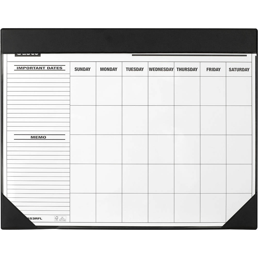 Image for SASCO DESK PLANNER CALENDAR UNDATED MONTH TO VIEW 455 X 580MM BLACK from BusinessWorld Computer & Stationery Warehouse