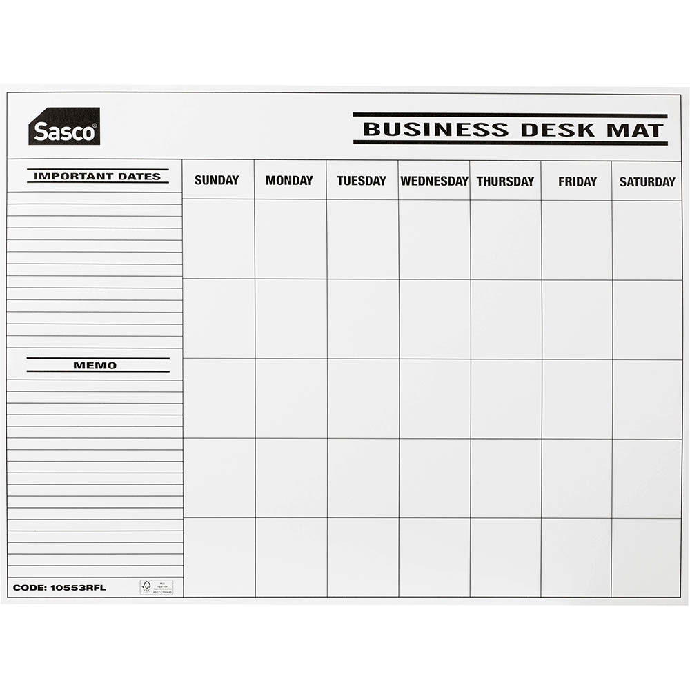 Image for SASCO DESK PLANNER CALENDAR UNDATED MONTH TO VIEW REFILL PACK 12 from BusinessWorld Computer & Stationery Warehouse