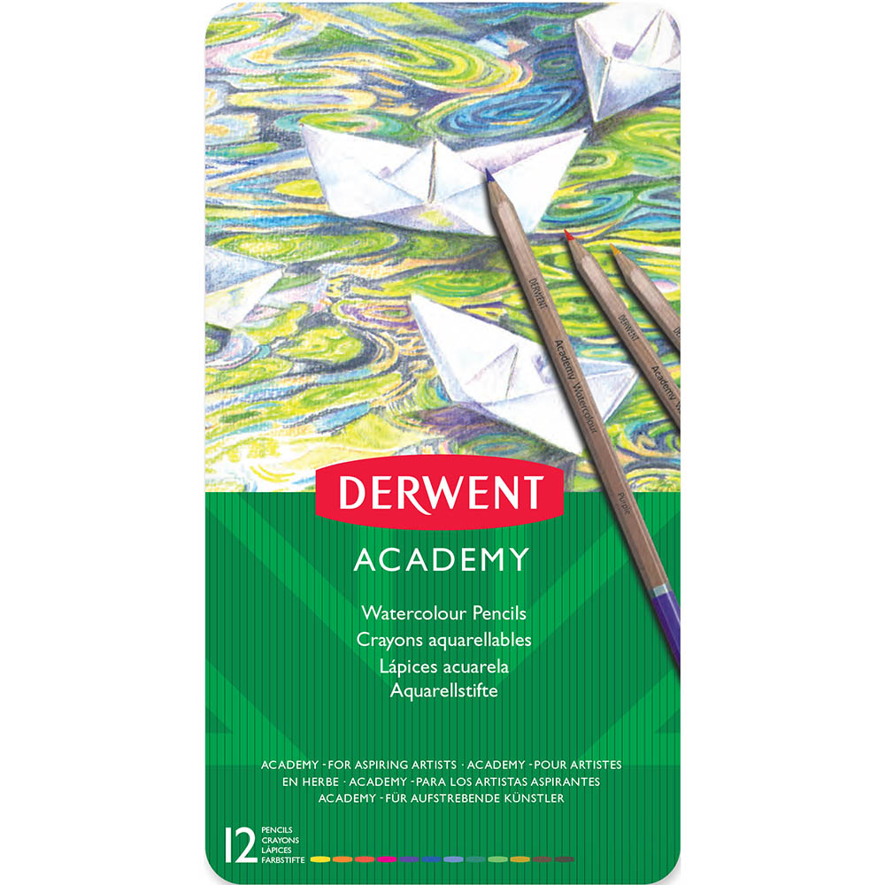 Image for DERWENT ACADEMY WATERCOLOUR PENCILS ASSORTED TIN 12 from Memo Office and Art