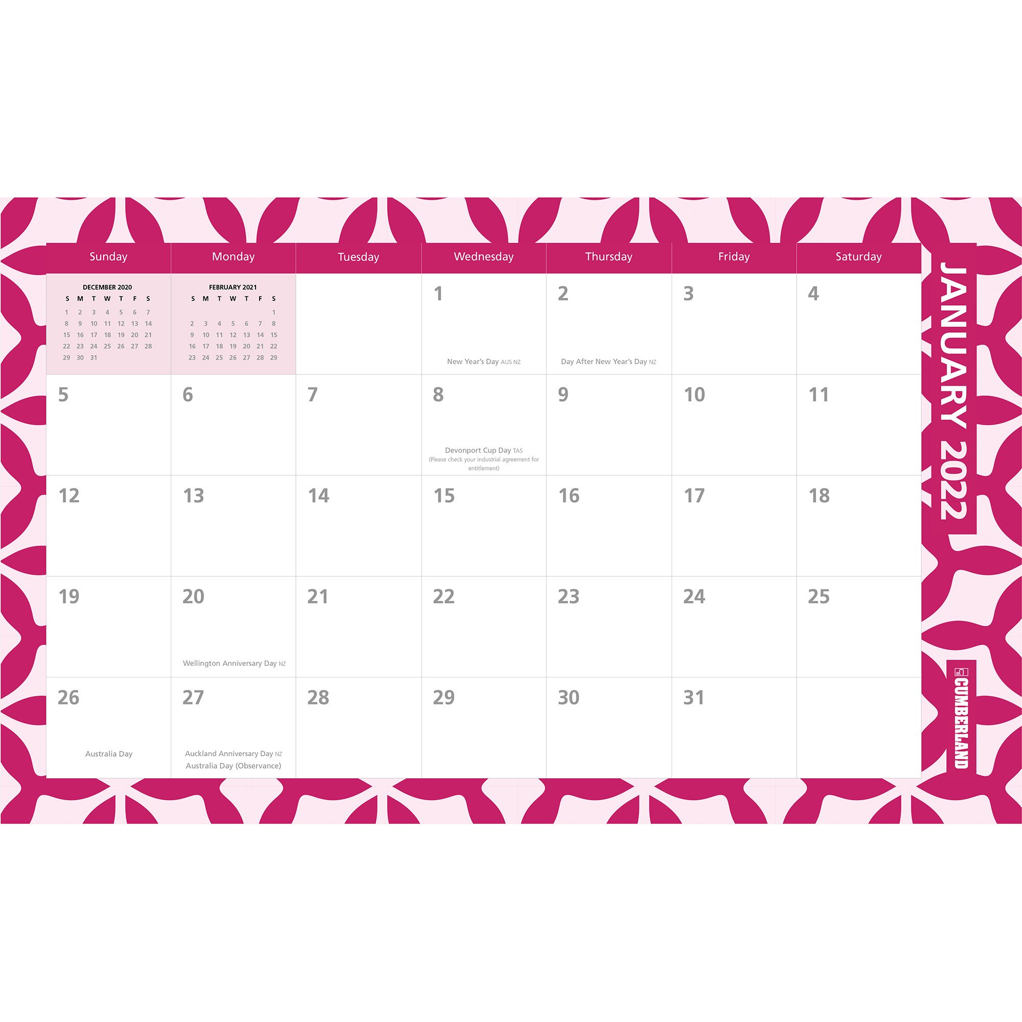 Image for CUMBERLAND 2022 DESK/WALL PLANNER MONTH TO VIEW 450 X 276MM from ONET B2C Store