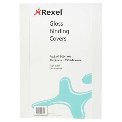 Image for REXEL BINDING COVER 250 MICRON A4 GLOSS WHITE PACK 100 from BusinessWorld Computer & Stationery Warehouse