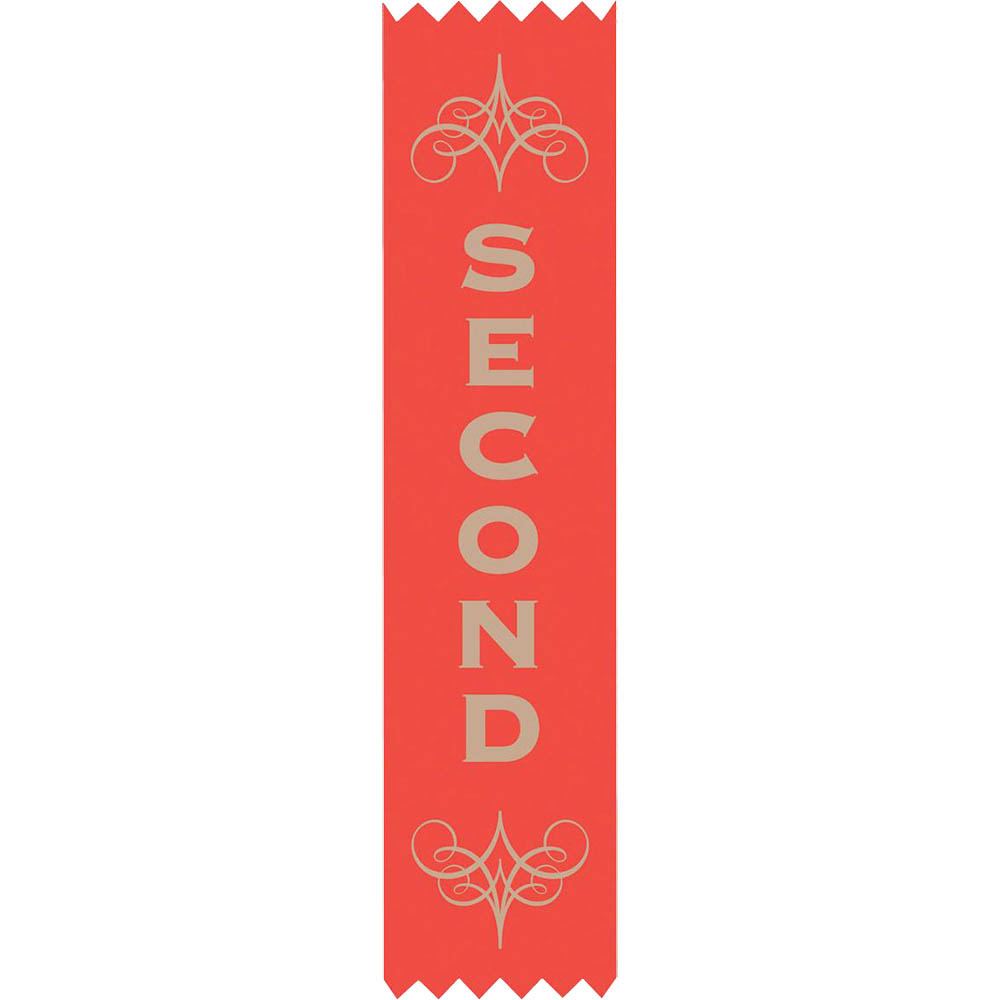 Image for AVERY 69630 MERIT RIBBONS SATIN 2ND PLACE RED PACK 100 from Mitronics Corporation