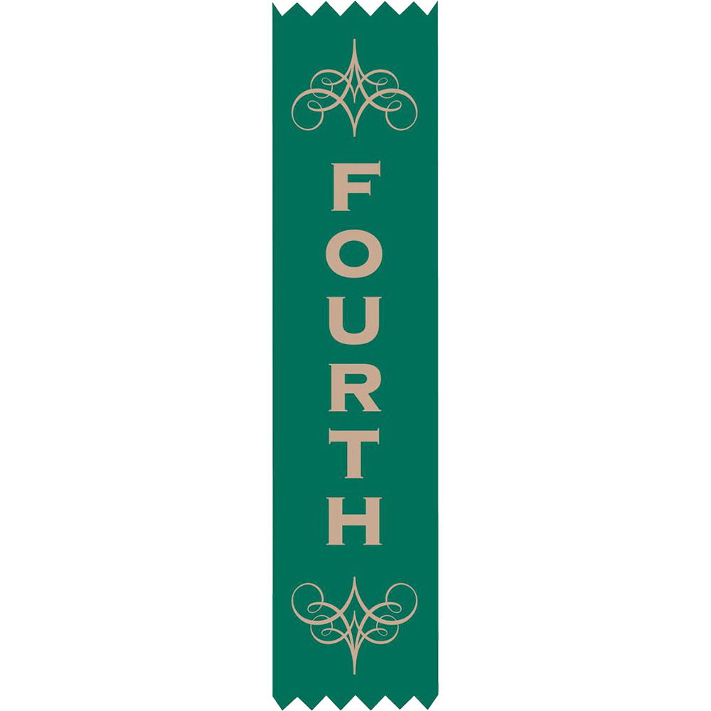 Image for AVERY 69632 MERIT RIBBONS SATIN 4TH PLACE GREEN PACK 100 from Mitronics Corporation