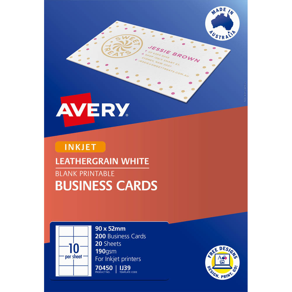 Image for AVERY 70450 IJ39 LEATHERGRAIN BUSINESS CARD 200GSM 90 X 52MM WHITE PACK 200 from BusinessWorld Computer & Stationery Warehouse