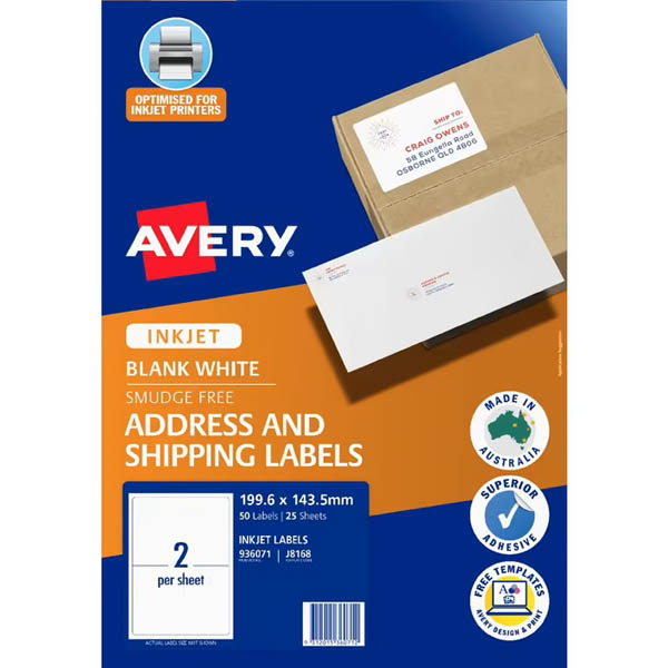 Image for AVERY 936021 J8168 TRUEBLOCK SHIPPING LABEL INKJET 2UP PACK 25 from Challenge Office Supplies
