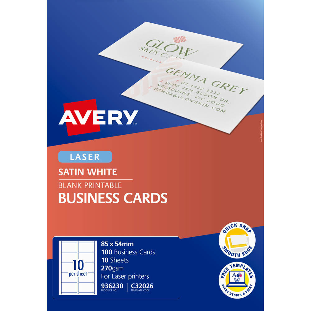 Image for AVERY 936230 C32026 QUICK CLEAN BUSINESS CARD DOUBLE SIDED 270GSM 85 X 54MM SATIN WHITE PACK 100 from BusinessWorld Computer & Stationery Warehouse