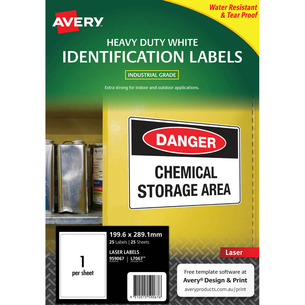 Image for AVERY 959067 L7067 HEAVY DUTY LASER LABELS 1UP WHITE PACK 25 from Olympia Office Products