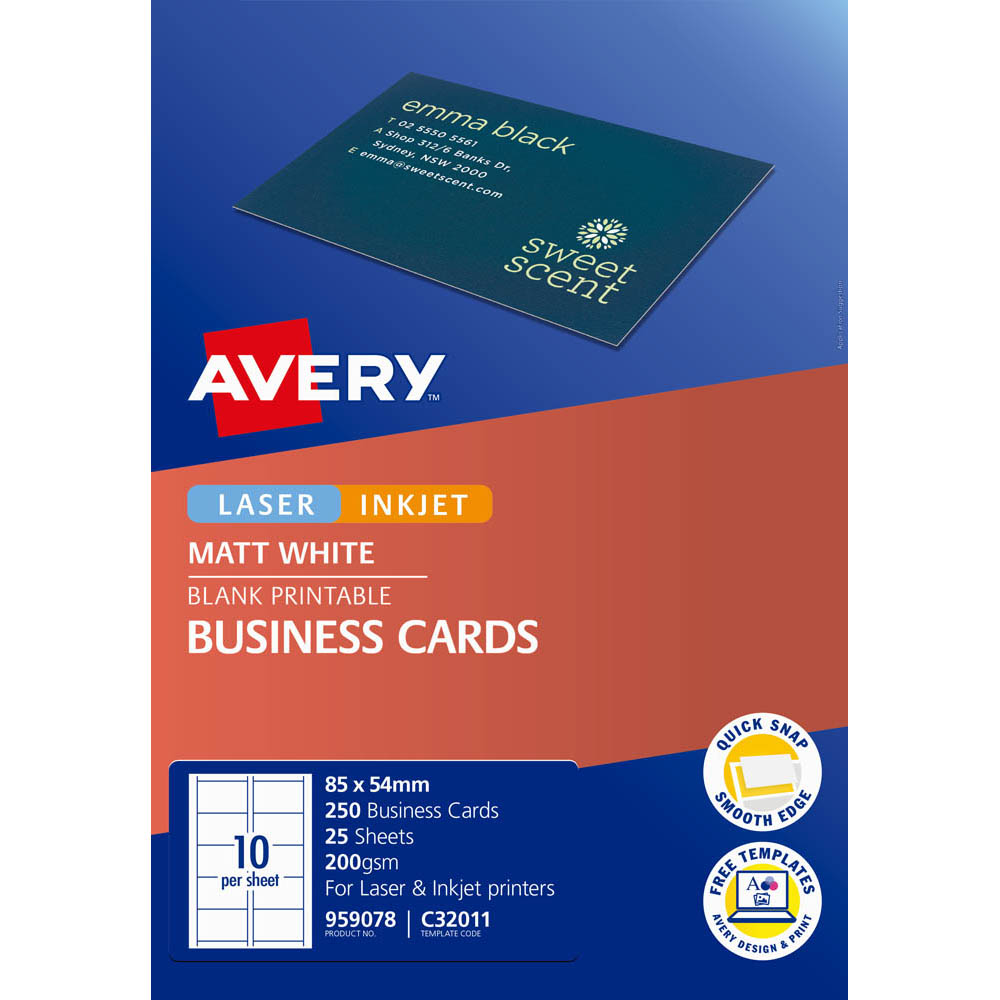 Image for AVERY 959078 C32011 QUICK CLEAN BUSINESS CARD 200GSM 85 X 54MM WHITE PACK 250 from BusinessWorld Computer & Stationery Warehouse