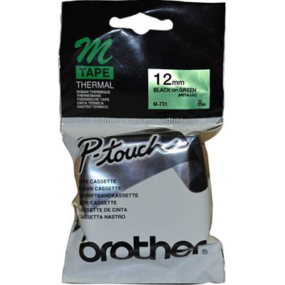 Image for BROTHER M-731 NON LAMINATED LABELLING TAPE 12MM BLACK ON GREEN from ONET B2C Store