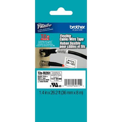 Image for BROTHER TZE-FX261 FLEXIBLE LABELLING TAPE 36MM BLACK ON WHITE from Clipboard Stationers & Art Supplies