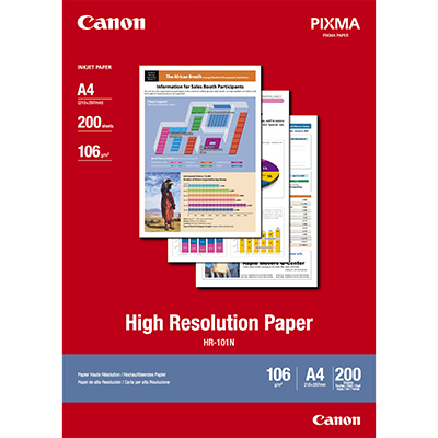 Image for CANON HR-101 HIGH RESOLUTION PHOTO PAPER 106GSM A4 WHITE PACK 200 from BusinessWorld Computer & Stationery Warehouse