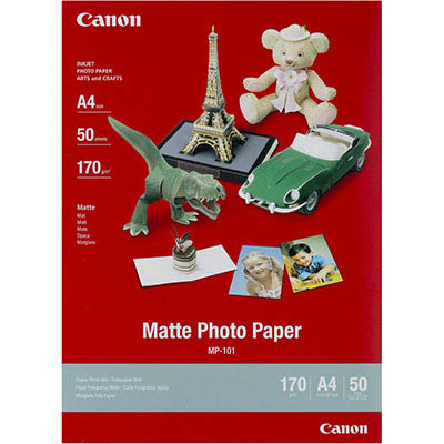 Image for CANON MP-101 MATTE PHOTO PAPER 170GSM A4 WHITE PACK 50 from BusinessWorld Computer & Stationery Warehouse