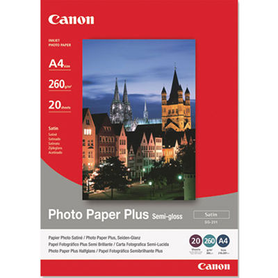 Image for CANON SG-201 PHOTO PAPER PLUS SEMIGLOSS 260GSM A4 WHITE PACK 20 from BusinessWorld Computer & Stationery Warehouse