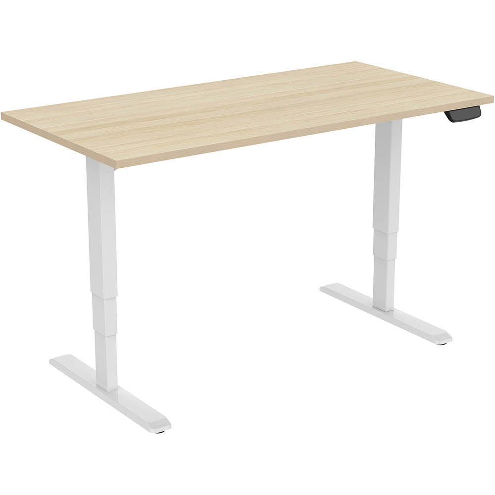 Image for ERGOVIDA ELECTRIC SIT STAND DESK DUAL MOTOR 1500 X 750MM WHITE/NEW OAK from Mercury Business Supplies
