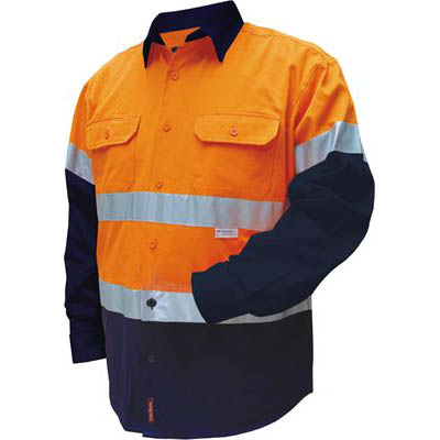 Image for PRIME MOVER MF101 COTTON DRILL SHIRT FLAME RETARDANT WITH REFLECTIVE TAPE 2 TONE from Mercury Business Supplies