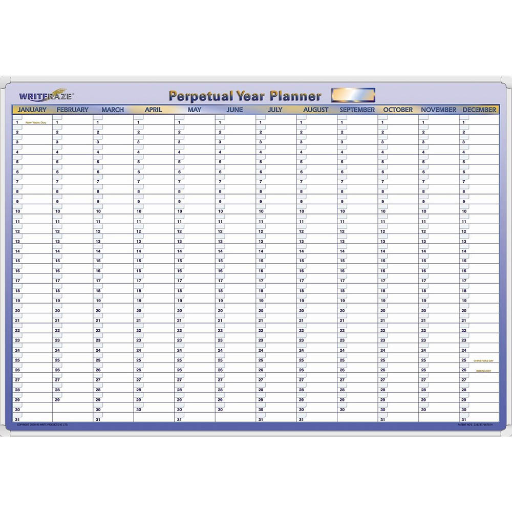 Image for WRITERAZE QC PERPETUAL YEAR PLANNER FRAMED 700 X 1000MM from ONET B2C Store
