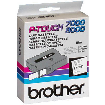 Image for BROTHER TX-251 LAMINATED LABELLING TAPE 24MM BLACK ON WHITE from Clipboard Stationers & Art Supplies