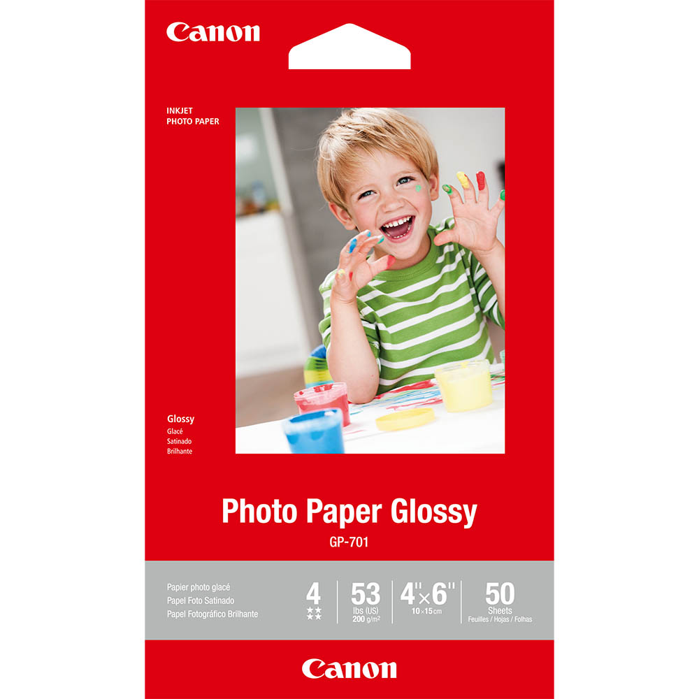 Image for CANON GP-701 GLOSSY PHOTO PAPER 4 X 6 INCH WHITE PACK 50 from BusinessWorld Computer & Stationery Warehouse
