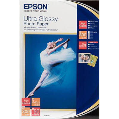 Image for EPSON C13S041943 ULTRA GLOSSY PHOTO PAPER 300GSM 102 X 152MM WHITE PACK 50 from ONET B2C Store