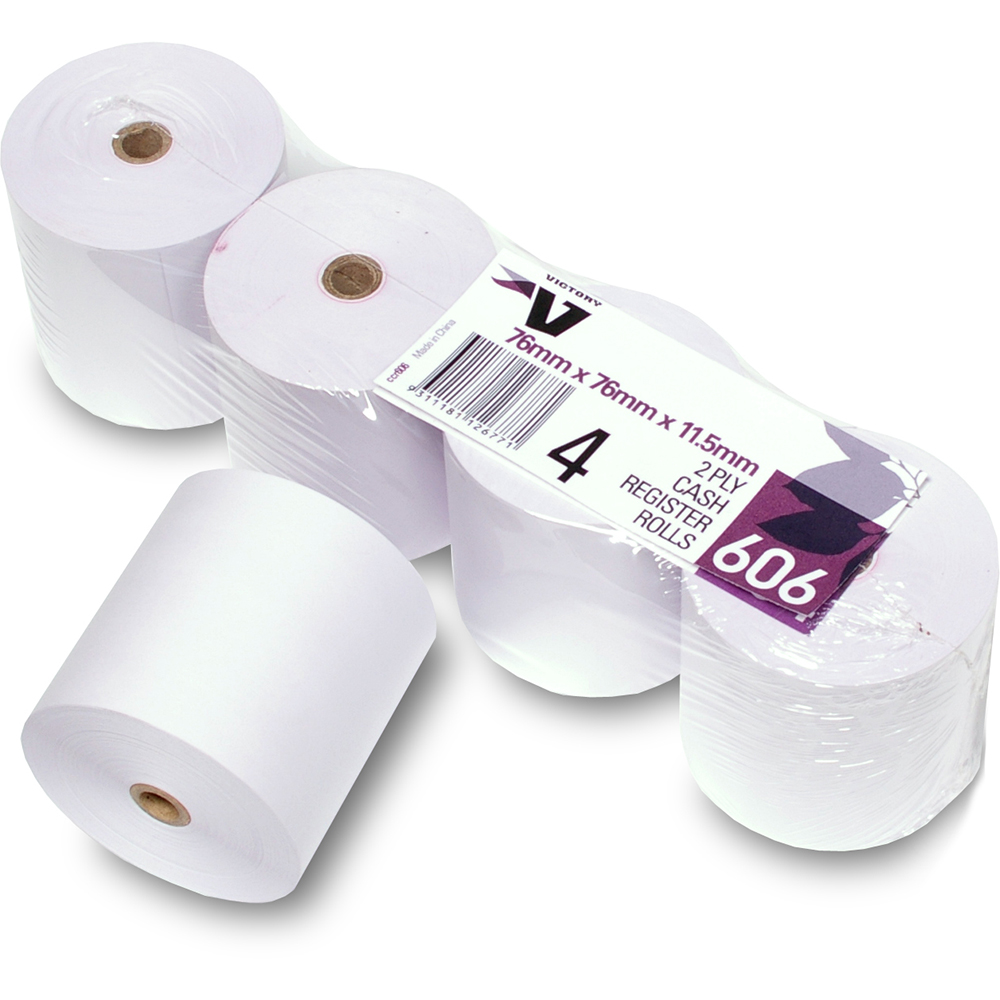 Image for VICTORY 606 CASH REGISTER ROLL 2 PLY 76 X 76 X 11.5MM PACK 4 from Clipboard Stationers & Art Supplies