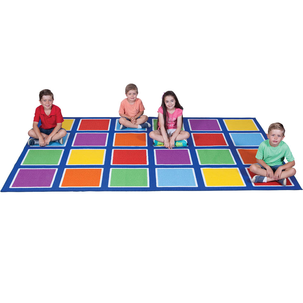 Image for ELIZABETH RICHARDS COLOUR SQUARES PLACEMENT RUG 24 SQUARES 3M X 2M DARK BLUE from BusinessWorld Computer & Stationery Warehouse
