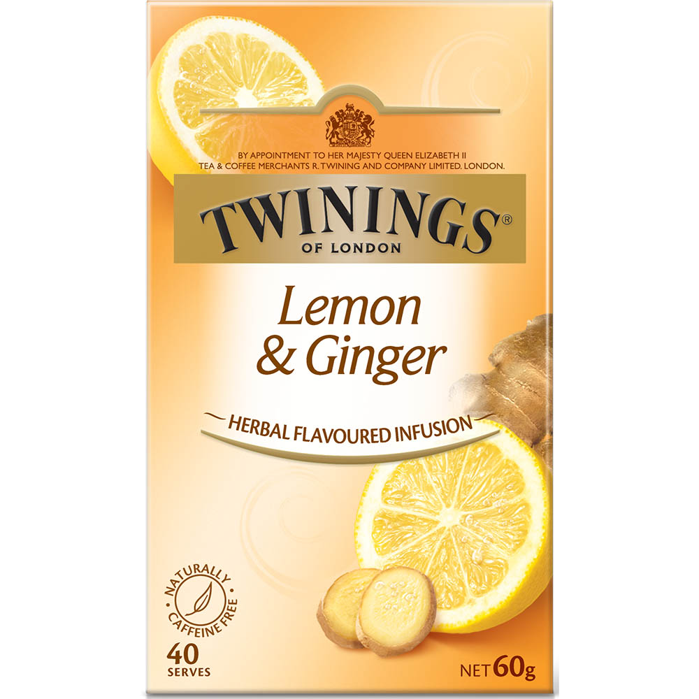 Image for TWININGS TEA BAGS HERBAL FLAVOURED INFUSION LEMON AND GINGER PACK 40 from ONET B2C Store