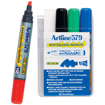 Image for ARTLINE 579 WHITEBOARD MARKER CHISEL 5MM ASSORTED WALLET 4 from ONET B2C Store