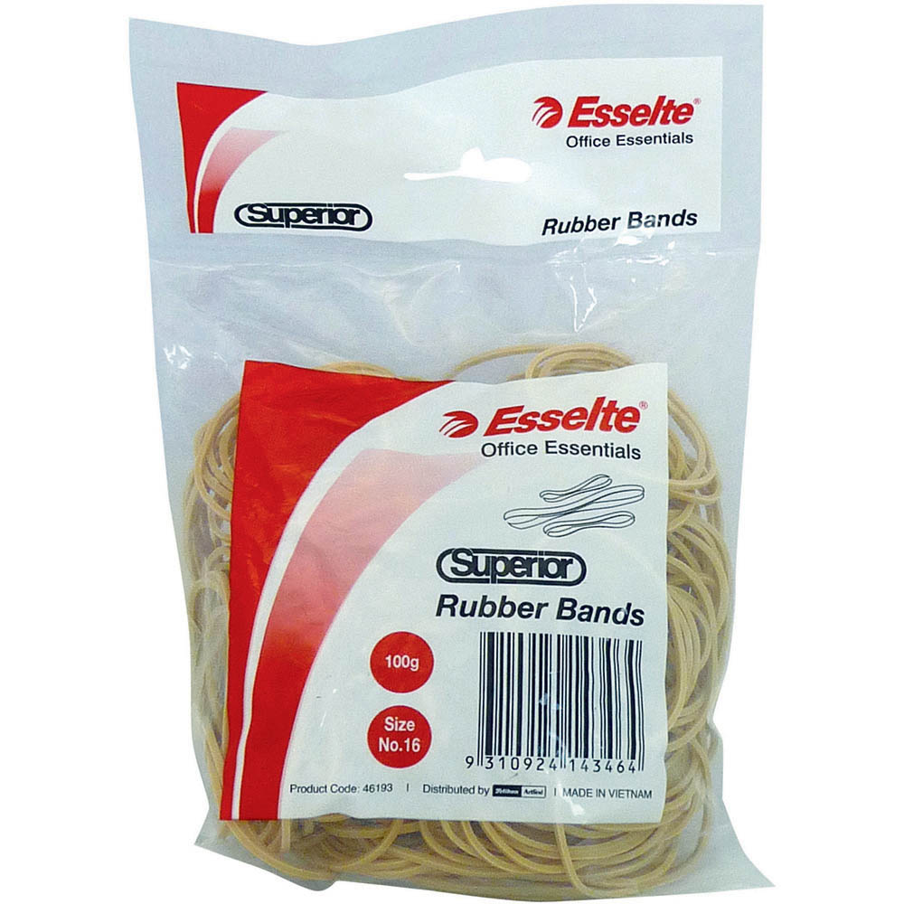 Image for ESSELTE SUPERIOR RUBBER BANDS SIZE 16 100G BOX from Holiday Coast Office