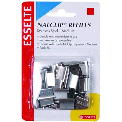 Image for ESSELTE NALCLIP REFILLS MEDIUM STAINLESS STEEL PACK 50 from ONET B2C Store