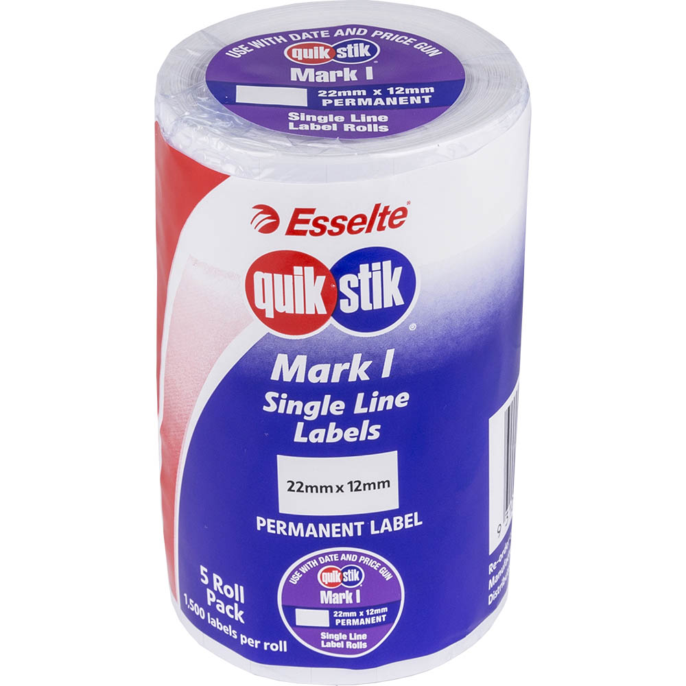 Image for QUIKSTIK MARK I PRICING GUN LABEL PERMANENT 1500 LABELS/ROLL 22 X 12MM WHITE PACK 5 from ONET B2C Store
