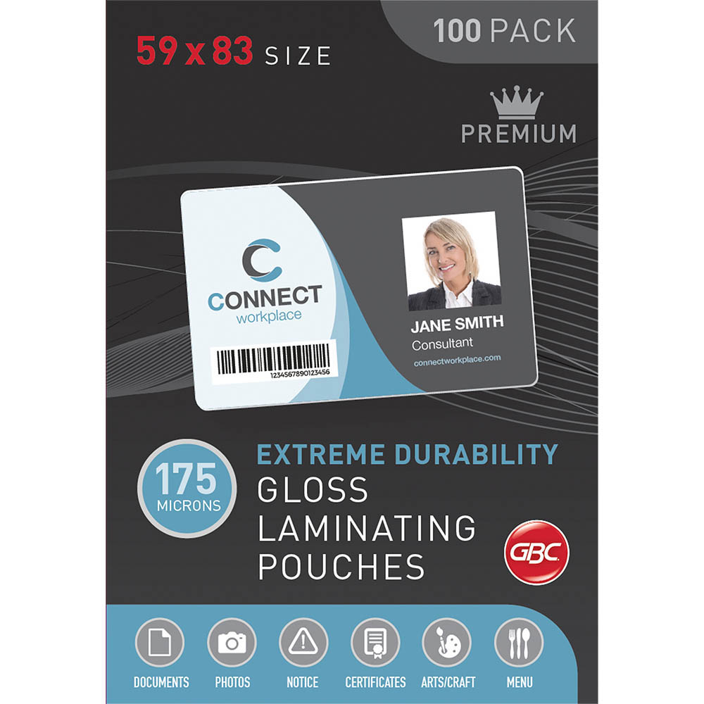 Image for GBC LAMINATING POUCH 175 MICRON 59 X 83MM CLEAR PACK 100 from BusinessWorld Computer & Stationery Warehouse