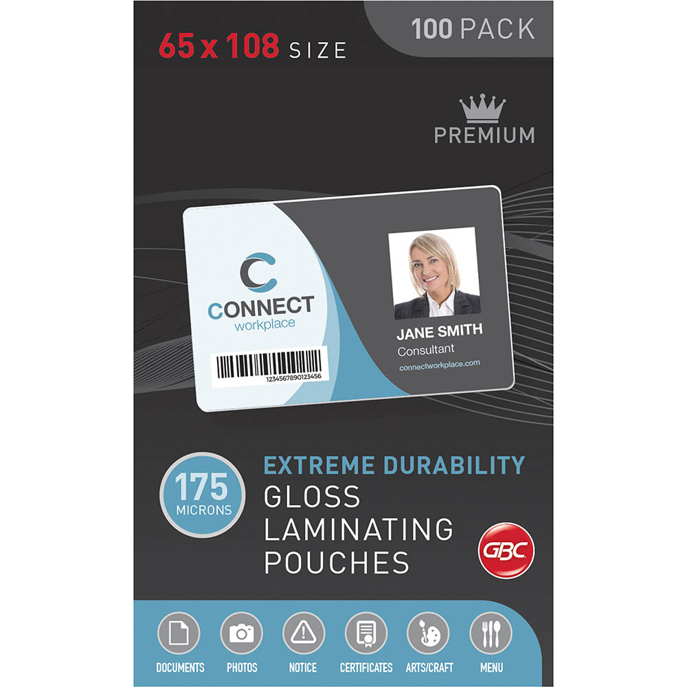 Image for GBC LAMINATING POUCH 175 MICRON 65 X 108MM CLEAR PACK 100 from BusinessWorld Computer & Stationery Warehouse